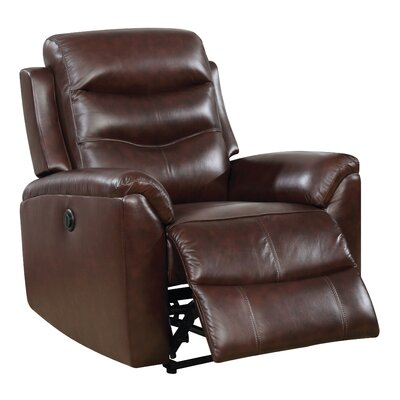 Veedersburg Power Motion Leather Recliner Upholstery: Brown