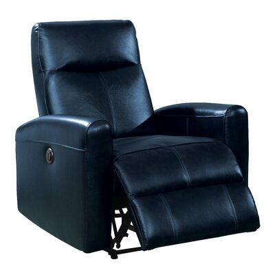 Deines Leather Recliner Upholstery: Navy Blue