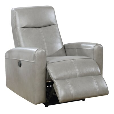 Deines Leather Power Recliner Upholstery: Gray