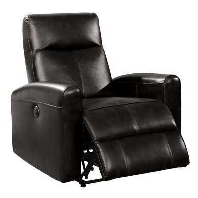 Deines Leather Power Recliner Upholstery: Black