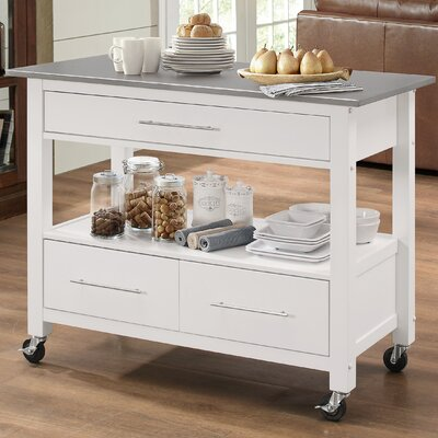 Monongah Rectangular Kitchen Cart with Stainless Steel Top