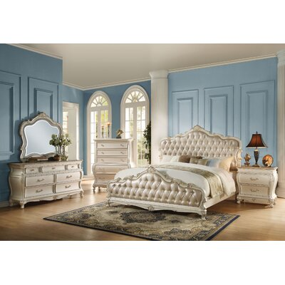 Casanovia Tufted Upholstered Panel Bed Size: California King, Color: Pearl White