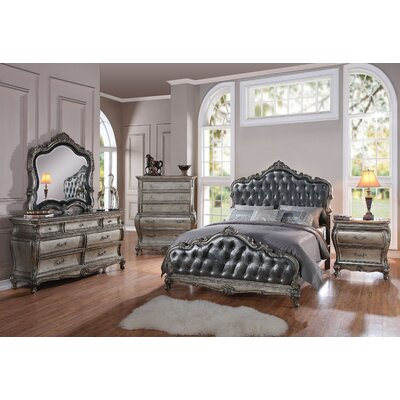 Casanovia Tufted Upholstered Panel Bed Size: Queen, Color: Antique Platinum/Silver Gray
