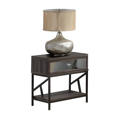 Welker Mirrored 1 Drawer Nightstand