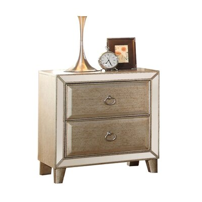 Caterina Mirrored 2 Drawer Nightstand