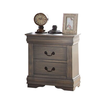 Bader 2 Drawer Nightstand Color: Antique Gray