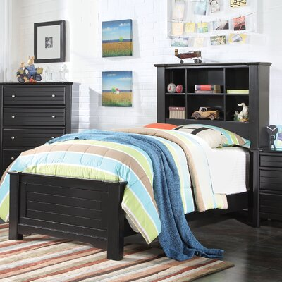 Saylor Bookcase Panel Bed Size: Twin, Bed Frame Color: Black