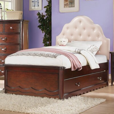 Scalf Tufted Upholstered Panel Bed Size: Twin, Bed Frame Color: Cherry