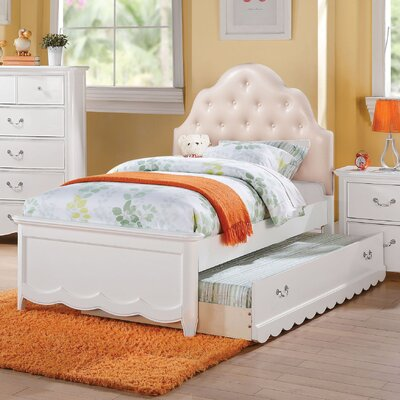 Scalf Tufted Upholstered Panel Bed Size: Twin, Bed Frame Color: White