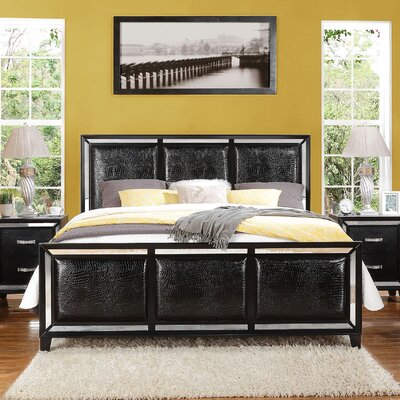 Mulki Mirrored Upholstered Panel Bed Size: Queen