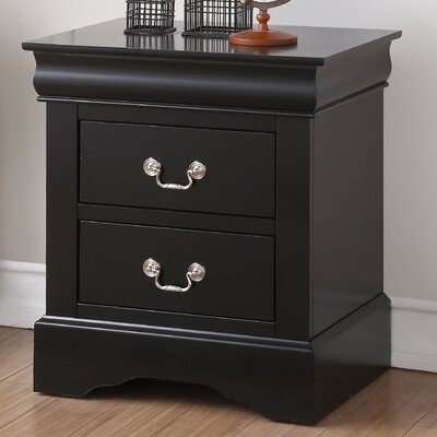 Whispering Pines 2 Drawer Nightstand Color: Black