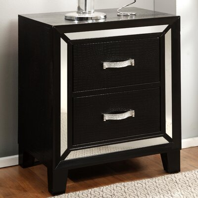 Mulki Mirrored 2 Drawer Nightstand