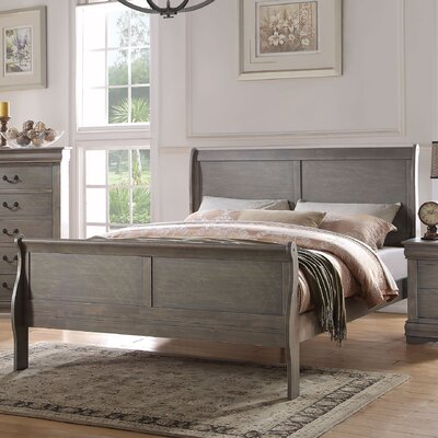 Bader Sleigh Bed Size: California King, Color: Antique Gray