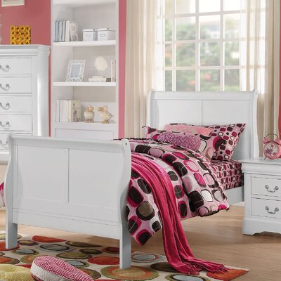 Whispering Pines Sleigh Bed Size: Queen, Color: White