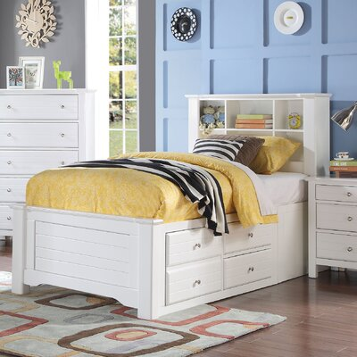 Saylor Bookcase Panel Bed with Storage Size: Twin, Bed Frame Color: White