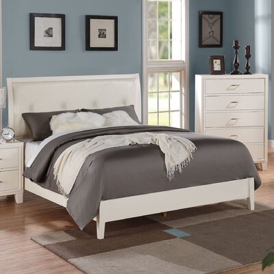 Bari Upholstered Panel Bed Size: California King, Color: Cream/White