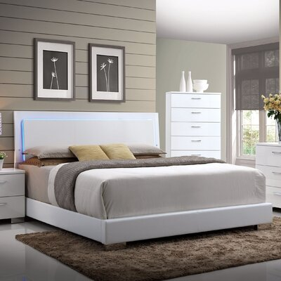 Schiavone Upholstered Panel Bed with LED Light Size: Eastern King