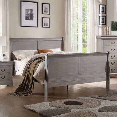 Whispering Pines Sleigh Bed Size: Eastern King, Color: Antique Gray