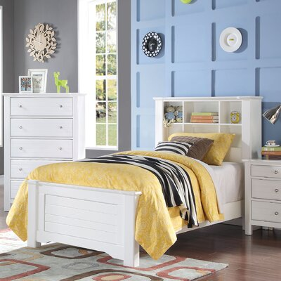 Saylor Bookcase Panel Bed Size: Full, Bed Frame Color: White