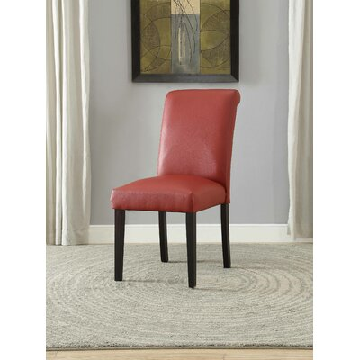 Ellettsville Upholstered Rolled Back Dining Chair Upholstery: Wine