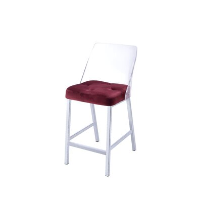 Langhorne Counter Height Upholstered Dining Chair Upholstery: Burgundy