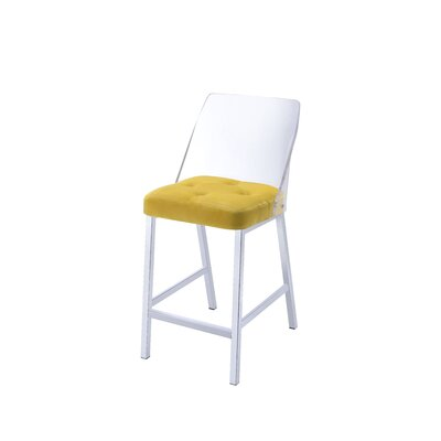 Langhorne Counter Height Upholstered Dining Chair Upholstery: Yellow