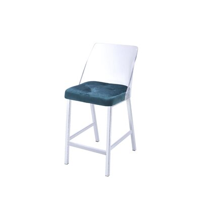 Langhorne Counter Height Upholstered Dining Chair Upholstery: Teal