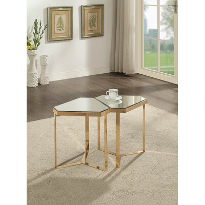 Adria Mirrored End Table