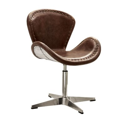 Annessia Top Grain Leather Swivel Side Chair