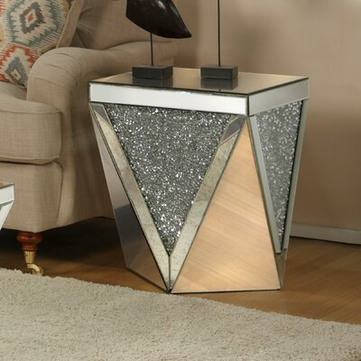 Blaker Drum Mirrored End Table