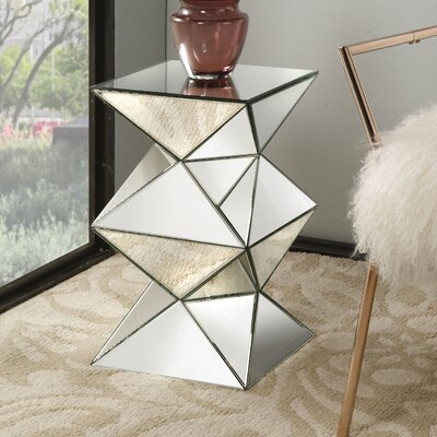 Eswer Mirrored Pedestal End Table