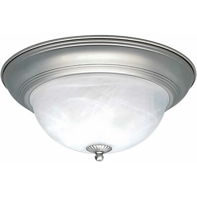 1-Light Flush Mount - Marble Glass Size / Finish: 14 H x 6 W / Brushed Nickel