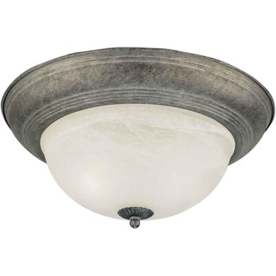 1-Light Flush Mount - Marble Glass Size / Finish: 14 H x 6 W / River Rock
