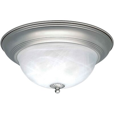 Vigue 1-Light Flush Mount - Marble Glass Size / Finish: 15.5 H x 6.5 W / Brushed Nickel