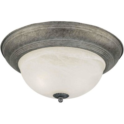 Vigue 1-Light Flush Mount - Marble Glass Size / Finish: 15.5 H x 6.5 W / River Rock