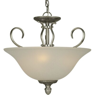 3-Light Semi Flush Mount Finish: Comb of Brushd Nickel and River Rock / White Linen