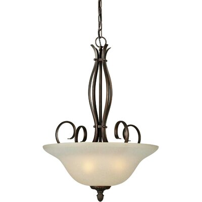 Blairview 4-Light Bowl Inverted Pendant Finish / Shade: Antique Bronze / Umber Linen