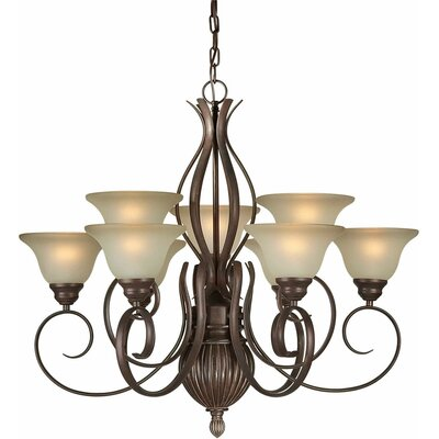 9-Light Shaded Chandelier Finish / Shade: Black Cherry / Umber