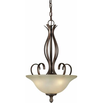 Blagnac 3-Light Bowl Inverted Pendant Color / Shade: Black Cherry / Umber