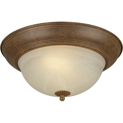 Vosburg Energy Efficient 2-Light Flush Mount Size: 11.75 H x 5.5 W, Finish: Chestnut
