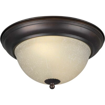 Energy Efficient 2-Light Flush Mount Size: 14 H x 6 W, Finish: Antique Bronze
