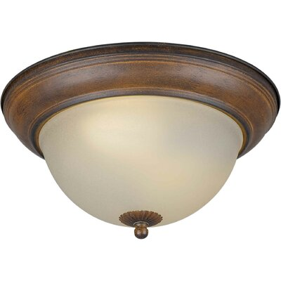Vosburg Energy Efficient 2-Light Flush Mount Size: 11.75 H x 5.5 W, Finish: Rustic Sienna