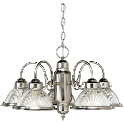 5 Light Chandelier Finish / Shade: Brushed Nickel / Ribbed