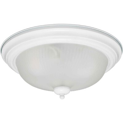 2-Light Flush Mount - Swirled Satin Etched Glass