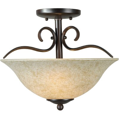 10 2-Light Semi Flush Mount Finish: Antique Bronze / Mica Flake