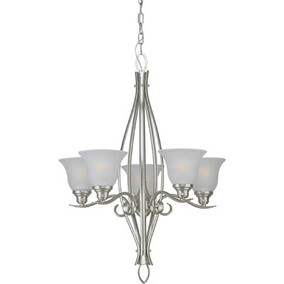 5-Light Shaded Chandelier Finish / Shade: Brushed Nickel / White Linen