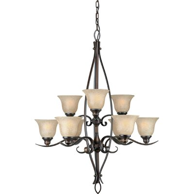 9-Light Shaded Chandelier Finish / Shade: Antique Bronze / Mica Flake