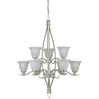 Darrens 9-Light Shaded Chandelier Finish / Shade: Brushed Nickel / White Linen