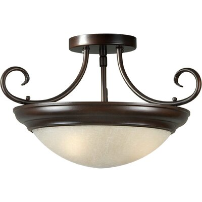 9.75 3 Light Semi Flush Mount Finish: Brushed Nickel / White Linen