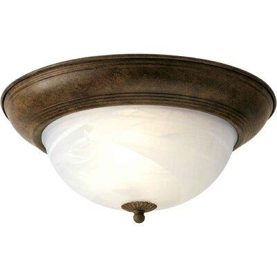 Vigue 1-Light Flush Mount - Marble Glass Size / Finish: 11.75 H x 5.5 W / Chestnut